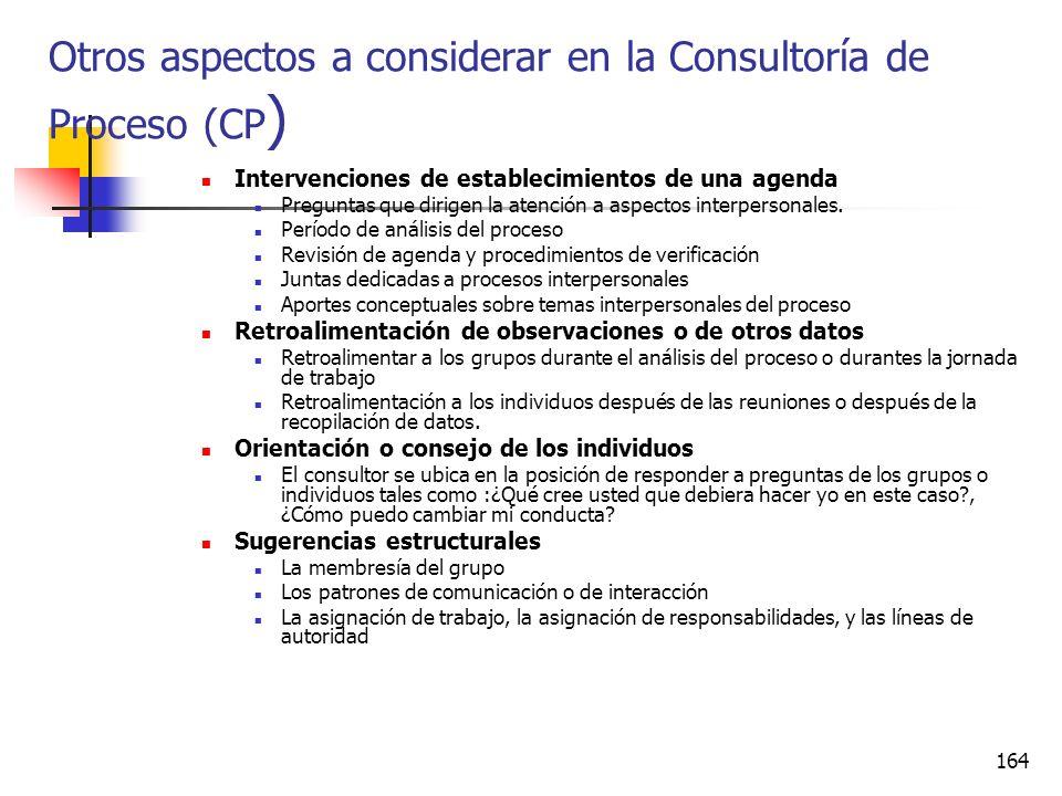 163 Otros aspectos a considerar en la Consultoría de Proceso (CP) El consultor CP trabajo en las organizaciones generalmente en equipos de trabajo y l