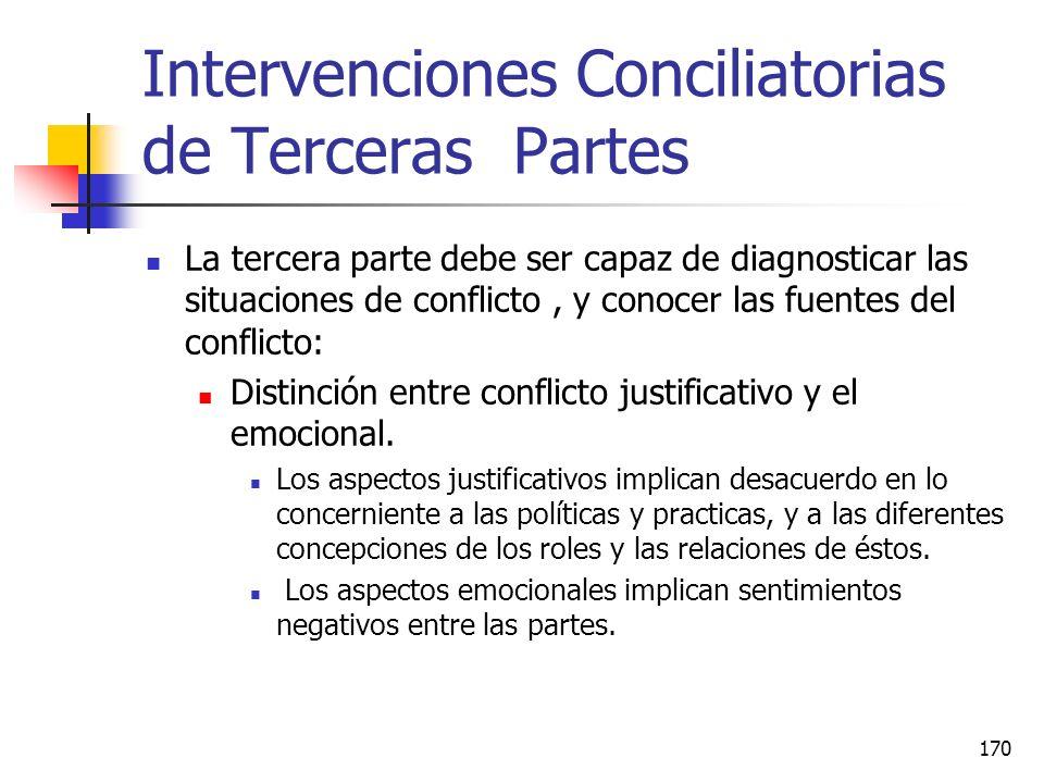 169 Intervenciones Conciliatorias de Terceras Partes Las intervenciones de terceras partes en situaciones de conflicto tienen el potencial de controla