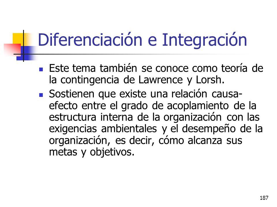 186 Objetivos Analizar los siguientes temas: Diferenciación e integración. Lawrence y Lorch Diseño estructural Organización colateral