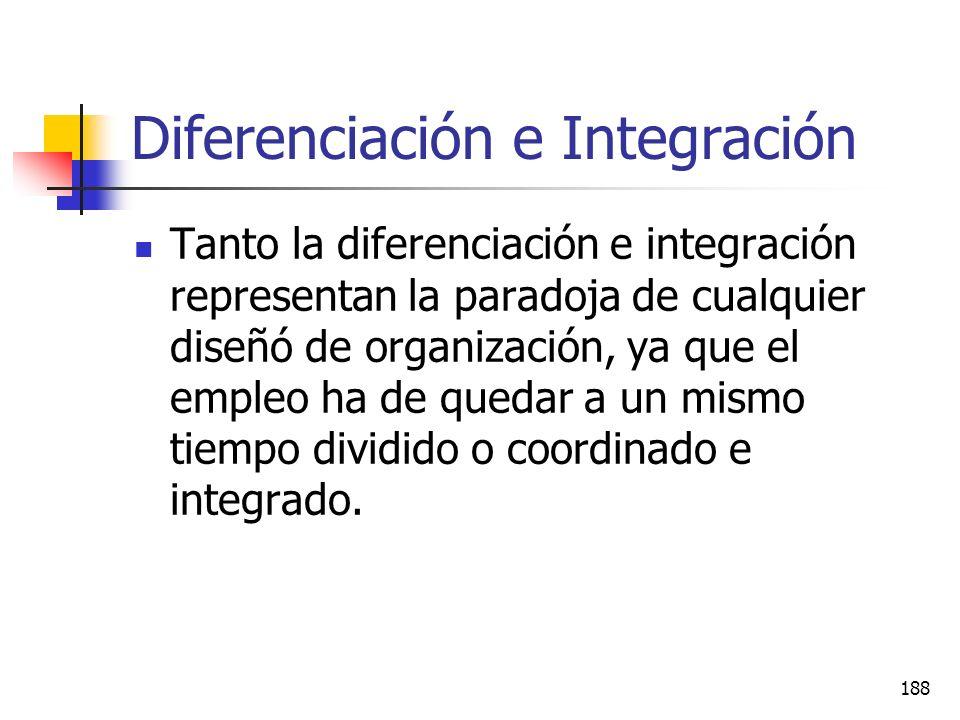 187 Diferenciación e Integración Este tema también se conoce como teoría de la contingencia de Lawrence y Lorsh. Sostienen que existe una relación cau