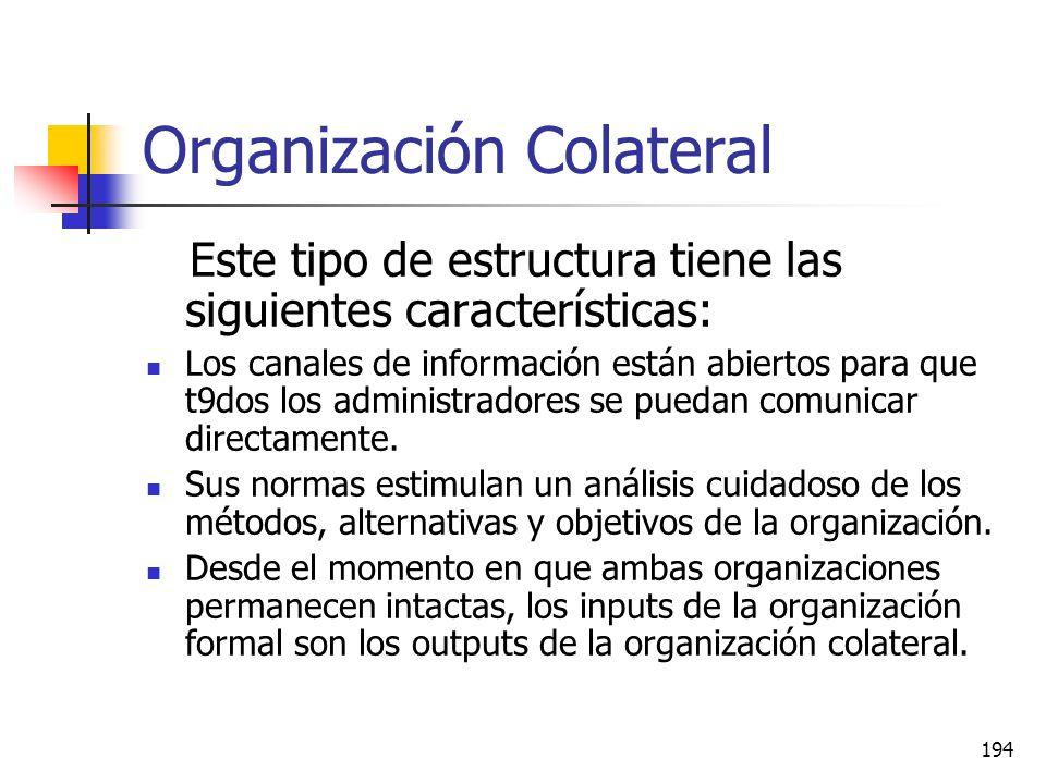 193 Organización Colateral Una organización colateral es una estructura paralela, que coexiste con la organización formal, que el administrador puede