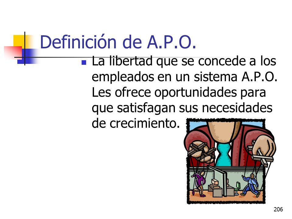 205 Definición de A.P.O. La A.P.O. Es un sistema que se basa en la fijación e metas. En general, es un sistema en el que los administradores y subordi
