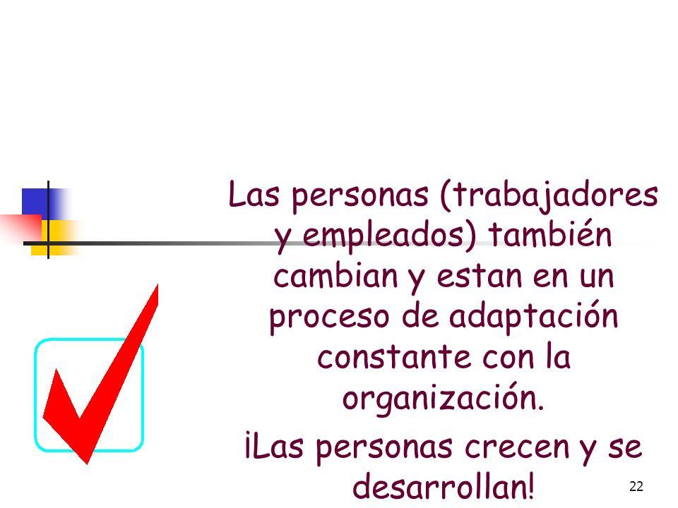 21 Características del Cambio Organizacional Los cambios al interior de la organización se producen como consecuencia del impacto que tienen, en la or