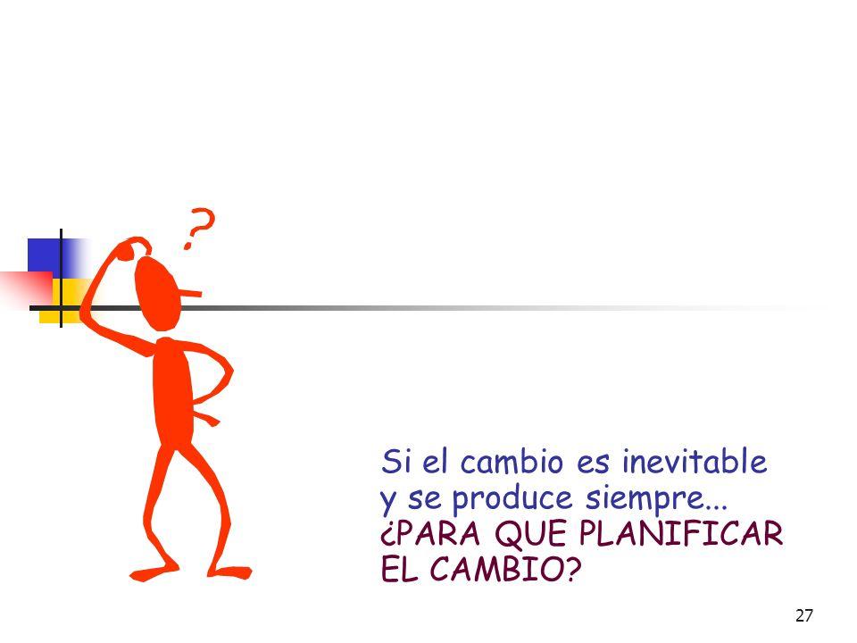 26 CAMBIO ORGANIZACIONAL EL CAMBIO OMNIPRESENTE EL CAMBIO INEVITABLE EL CAMBIO DETERMINADO ESTRUCTURALMENTE EL CAMBIO PERMANENTE EL CAMBIO ES IMPERCEP