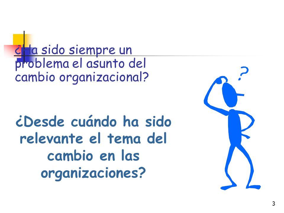 3 ¿Ha sido siempre un problema el asunto del cambio organizacional.