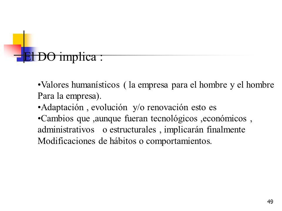 48 El DO requiere: Visión global de la empresa Enfoque de sistemas abiertos Compatibilización con las condiciones del medio externo Contrato conscient