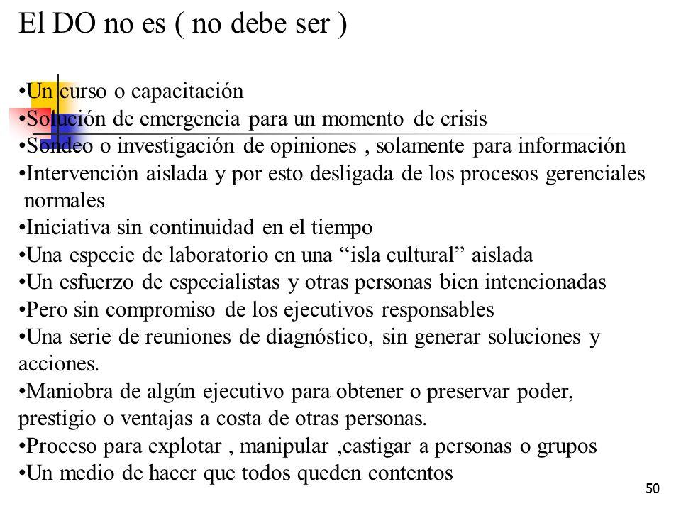 49 El DO implica : Valores humanísticos ( la empresa para el hombre y el hombre Para la empresa). Adaptación, evolución y/o renovación esto es Cambios