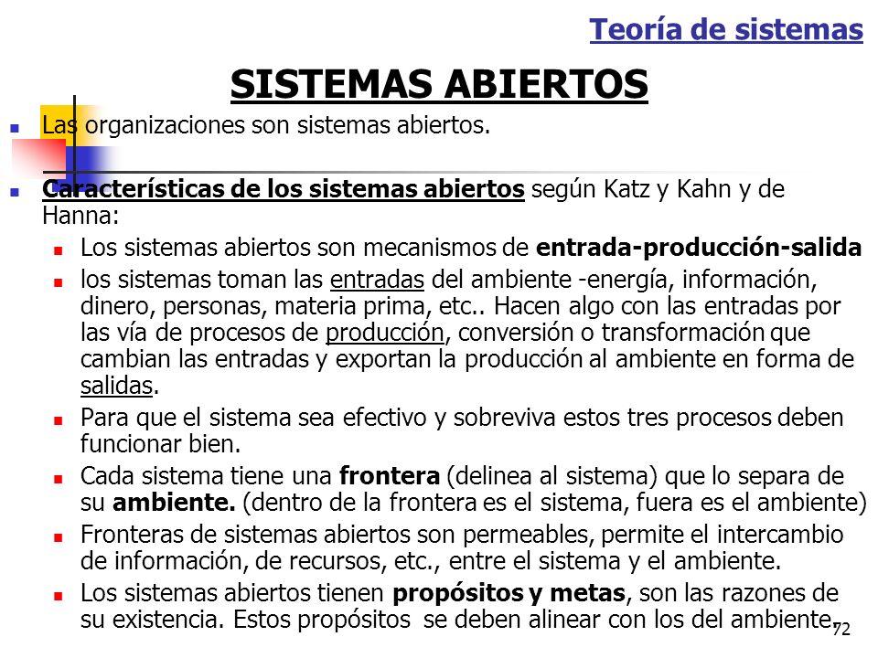 71 TEORIA DE LOS SISTEMAS Segunda base del desarrollo organizacional Considera las organizaciones como sistemas abiertos en un intercambio activo con
