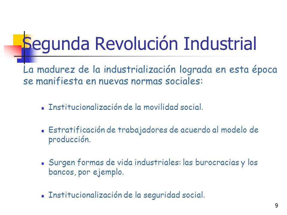 9 Segunda Revolución Industrial La madurez de la industrialización lograda en esta época se manifiesta en nuevas normas sociales: Institucionalización de la movilidad social.