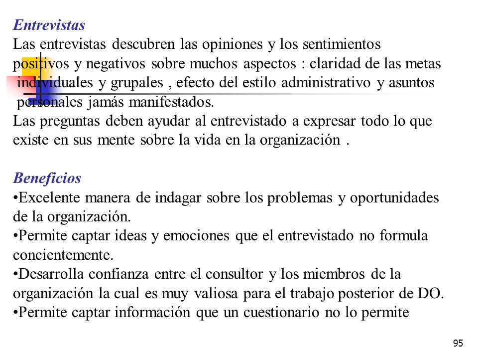 94 Beneficios Económicos para recopilar información de una población grande Son fácilmente cuantificables Son valiosos para la autoconfrontación Gasta