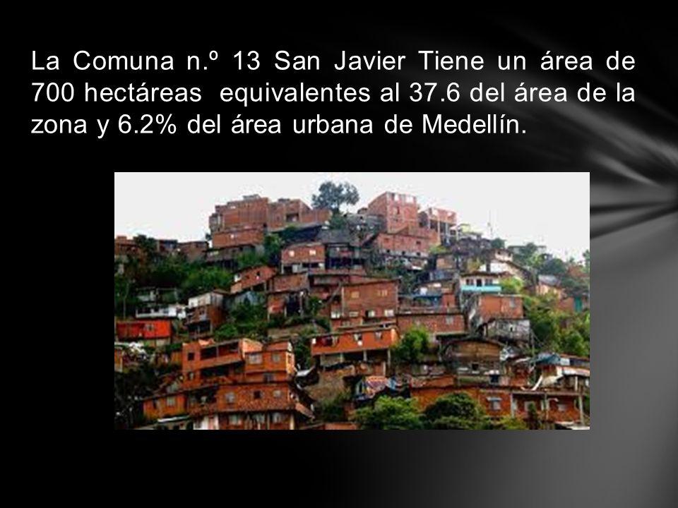 La Comuna n.º 13 San Javier Tiene un área de 700 hectáreas equivalentes al 37.6 del área de la zona y 6.2% del área urbana de Medellín.
