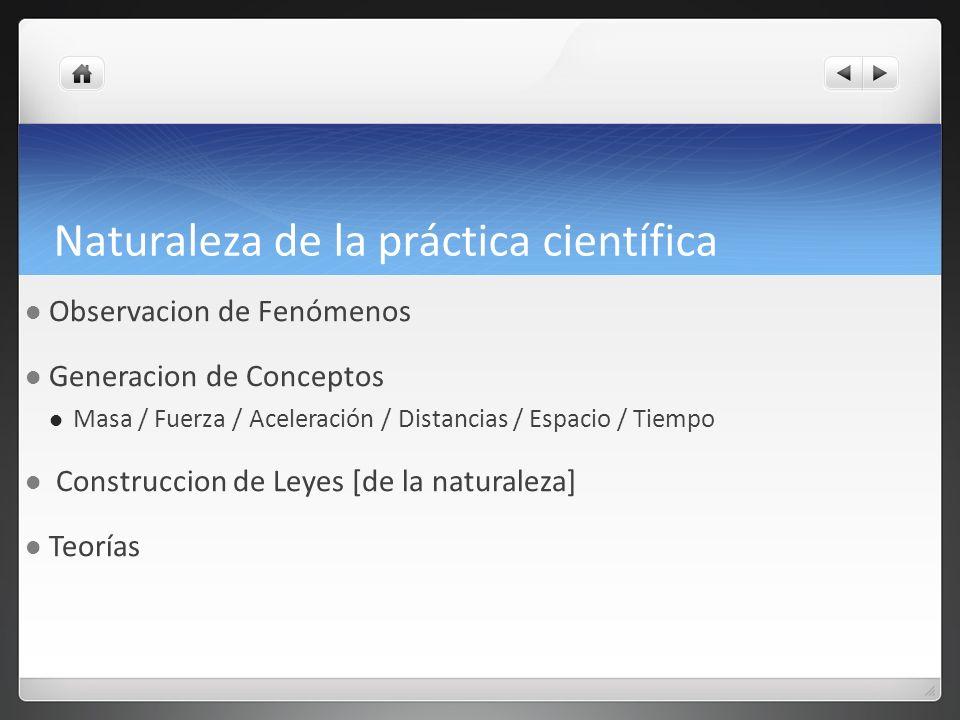 Naturaleza de la práctica científica Observacion de Fenómenos Generacion de Conceptos Masa / Fuerza / Aceleración / Distancias / Espacio / Tiempo Cons