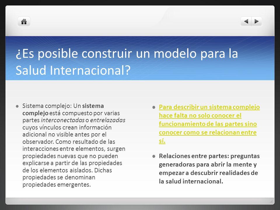 ¿Es posible construir un modelo para la Salud Internacional? Sistema complejo: Un sistema complejo está compuesto por varias partes interconectadas o