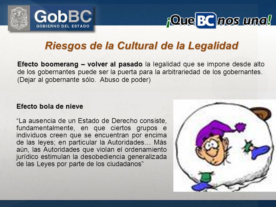 Riesgos de la Cultural de la Legalidad Efecto boomerang – volver al pasado Efecto boomerang – volver al pasado la legalidad que se impone desde alto d