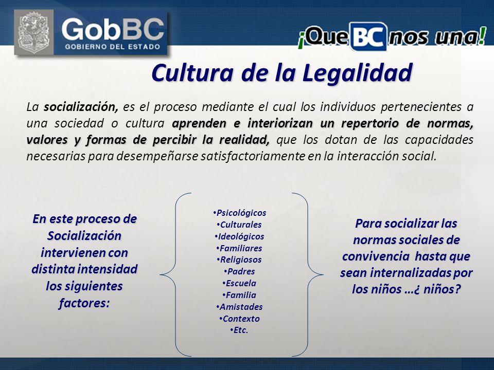 Psicológicos Culturales Ideológicos Familiares Religiosos Padres Escuela Familia Amistades Contexto Etc. Cultura de la Legalidad En este proceso de So