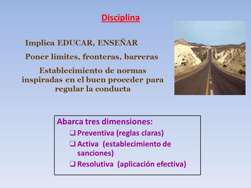 Disciplina Abarca tres dimensiones: Preventiva (reglas claras) Activa (establecimiento de sanciones) Resolutiva (aplicación efectiva) Implica EDUCAR,