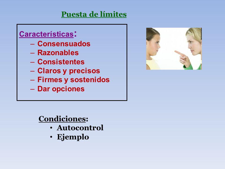 Puesta de límites Características : –Consensuados –Razonables –Consistentes –Claros y precisos –Firmes y sostenidos –Dar opciones Condiciones: Autocon