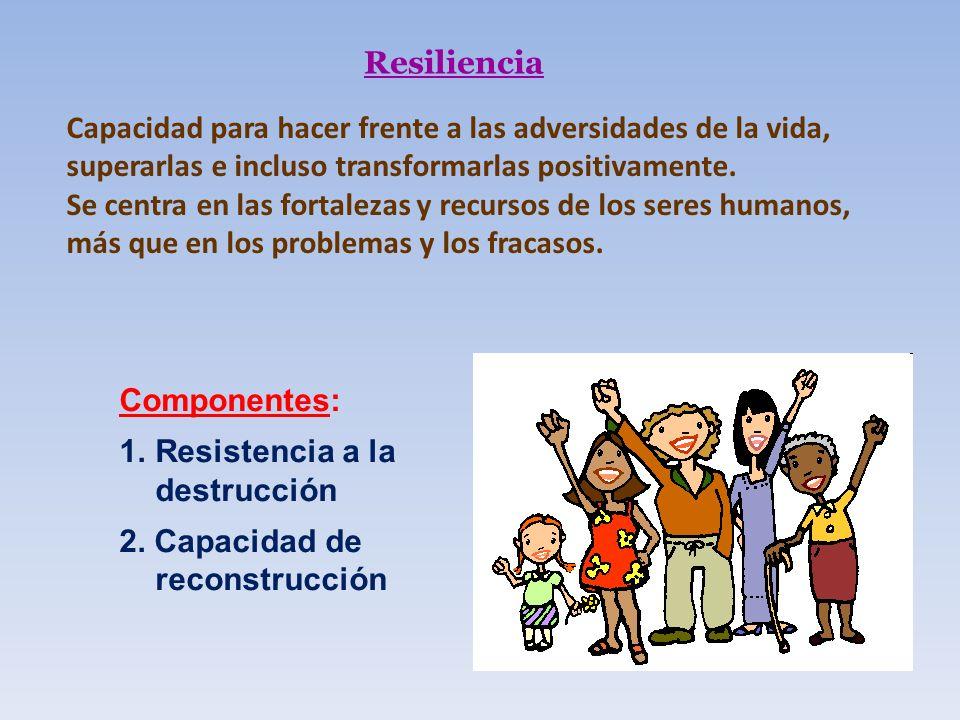 Resiliencia Componentes: 1.Resistencia a la destrucción 2. Capacidad de reconstrucción Capacidad para hacer frente a las adversidades de la vida, supe