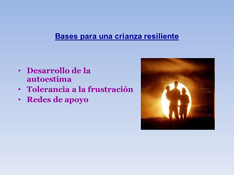 Bases para una crianza resiliente Desarrollo de la autoestima Tolerancia a la frustración Redes de apoyo