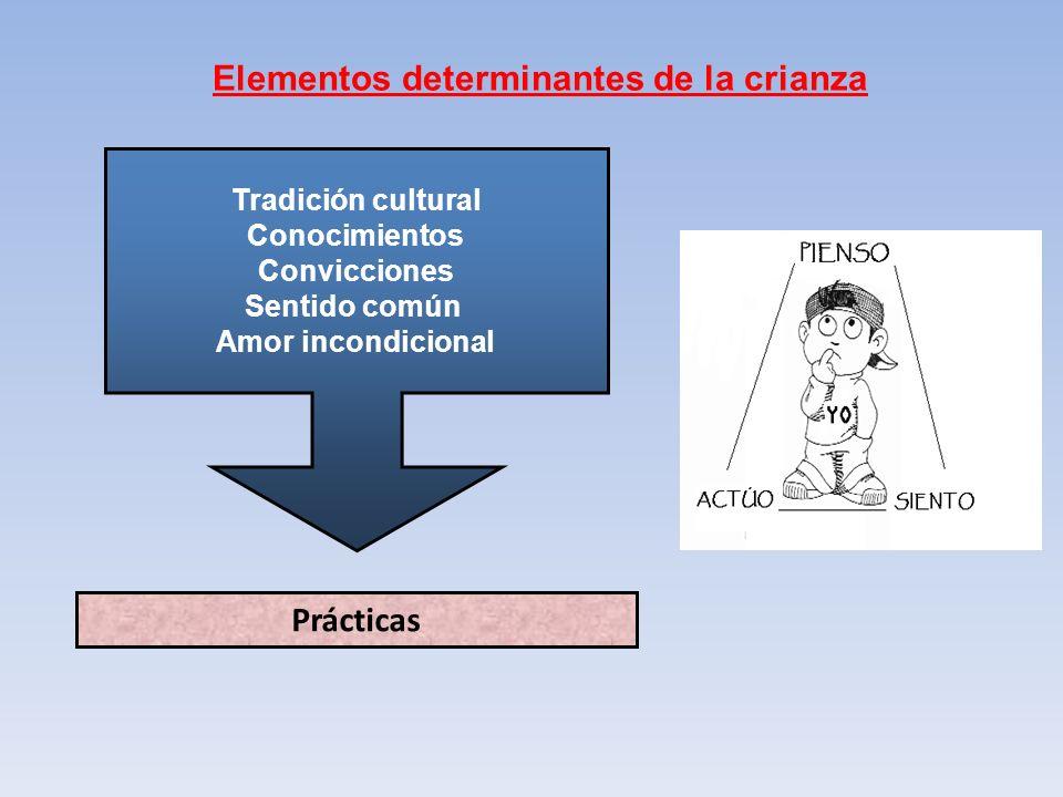Elementos determinantes de la crianza Prácticas Tradición cultural Conocimientos Convicciones Sentido común Amor incondicional