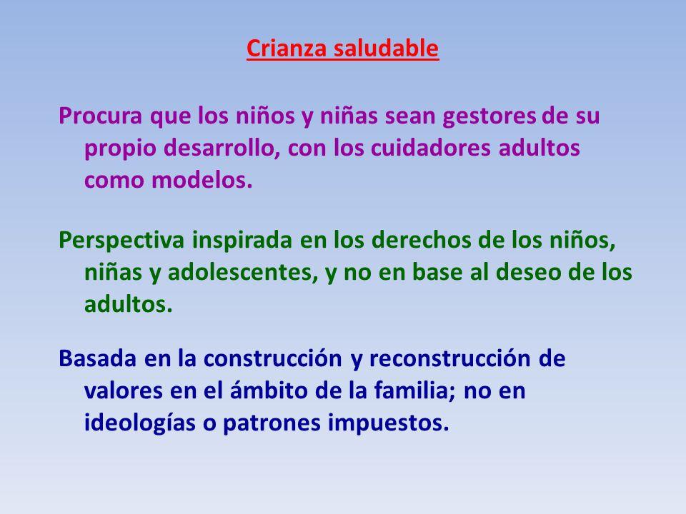 Crianza saludable DESARROLLO INTEGRAL Autoestima Autonomía Creatividad Felicidad Solidaridad Salud Educar con el ejemplo Promoción del buen trato Disciplina afectuosa Resiliencia MétodosPropósito