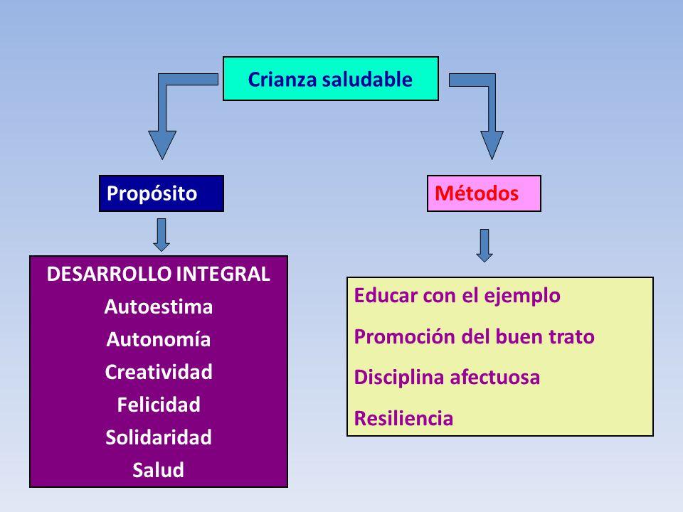 Crianza saludable DESARROLLO INTEGRAL Autoestima Autonomía Creatividad Felicidad Solidaridad Salud Educar con el ejemplo Promoción del buen trato Disc