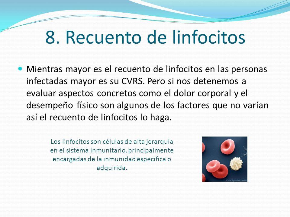 8. Recuento de linfocitos Mientras mayor es el recuento de linfocitos en las personas infectadas mayor es su CVRS. Pero si nos detenemos a evaluar asp