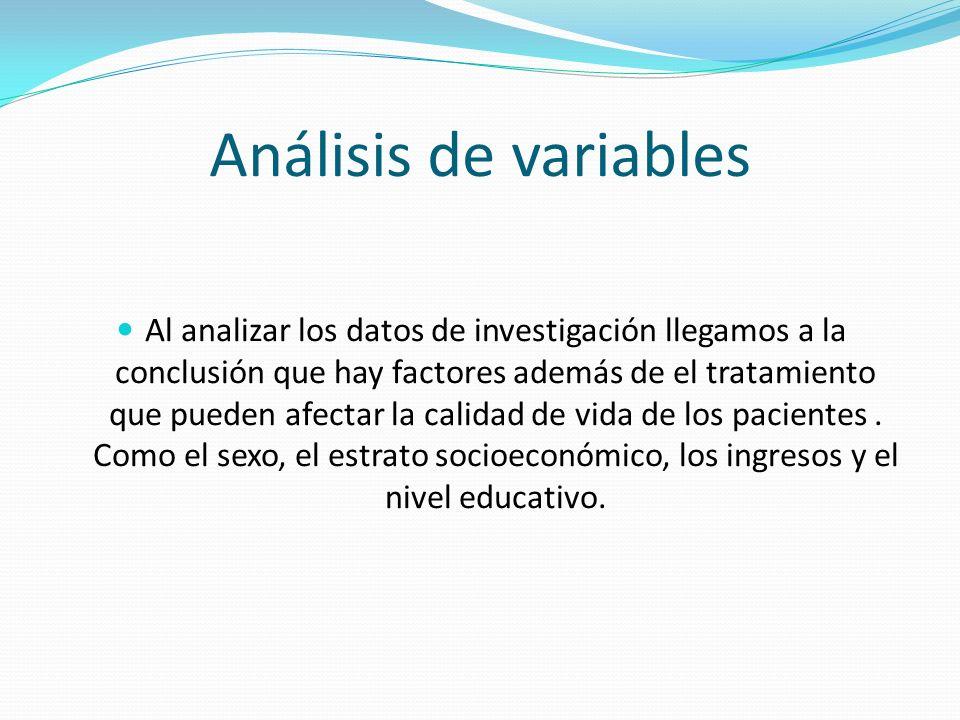 Análisis de variables Al analizar los datos de investigación llegamos a la conclusión que hay factores además de el tratamiento que pueden afectar la