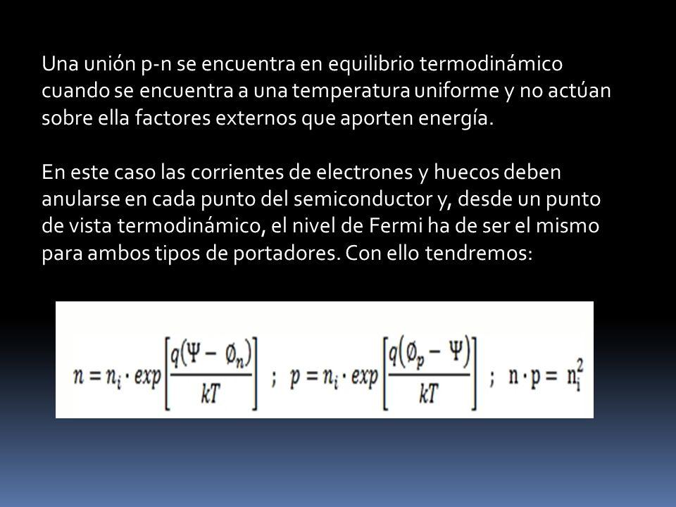Una unión p-n se encuentra en equilibrio termodinámico cuando se encuentra a una temperatura uniforme y no actúan sobre ella factores externos que apo