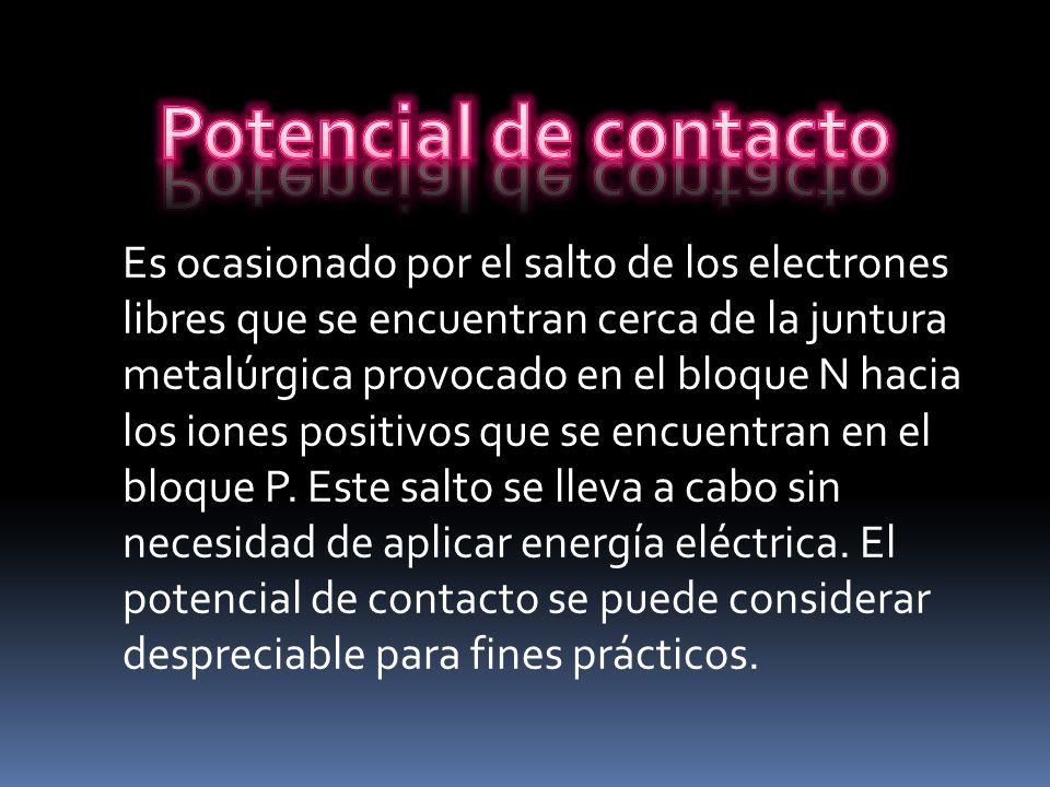Es ocasionado por el salto de los electrones libres que se encuentran cerca de la juntura metalúrgica provocado en el bloque N hacia los iones positiv