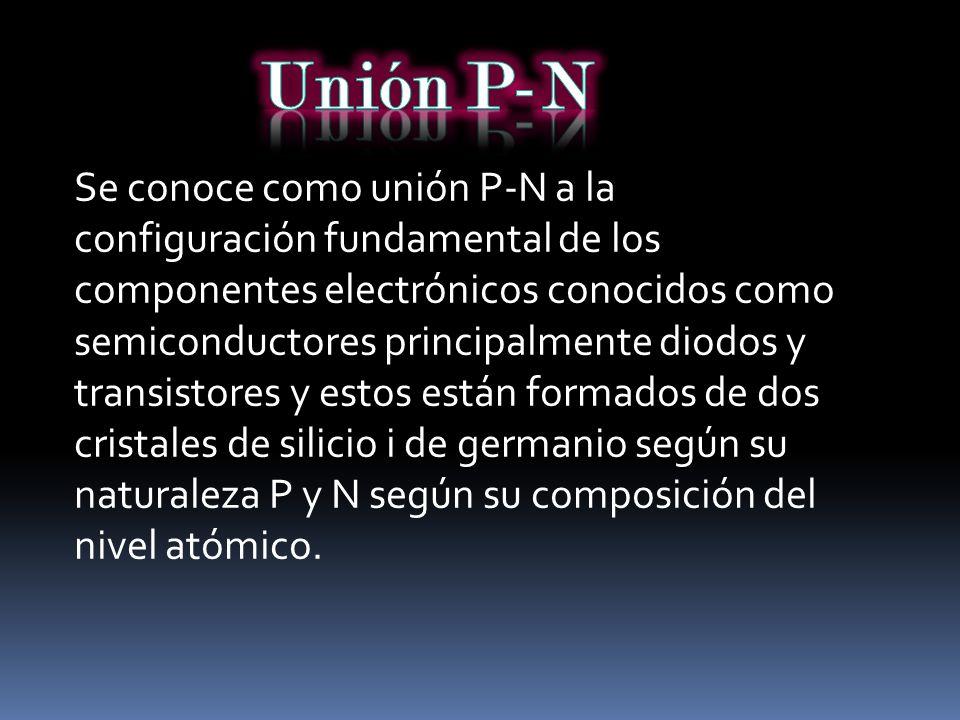 Se conoce como unión P-N a la configuración fundamental de los componentes electrónicos conocidos como semiconductores principalmente diodos y transis