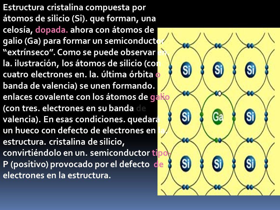 Estructura cristalina compuesta por átomos de silicio (Si). que forman, una celosía, dopada. ahora con átomos de galio (Ga) para formar un semiconduct