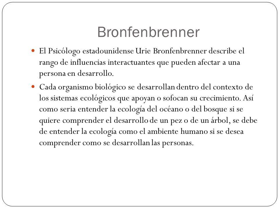 De acuerdo con bronfenbrenner, el desarrollo ocurre a través de procesos cada vez mas complejos de interacción entre una persona en desarrollo y el ambiente inmediato cotidiano, procesos que son afectados por contextos mas remotos de los cuales el individuo puede no estar consciente.