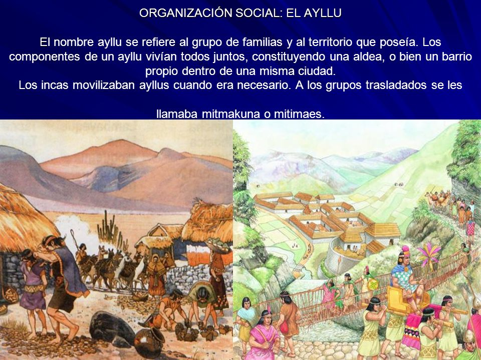 ORGANIZACIÓN SOCIAL: EL AYLLU E ORGANIZACIÓN SOCIAL: EL AYLLU El nombre ayllu se refiere al grupo de familias y al territorio que poseía. Los componen