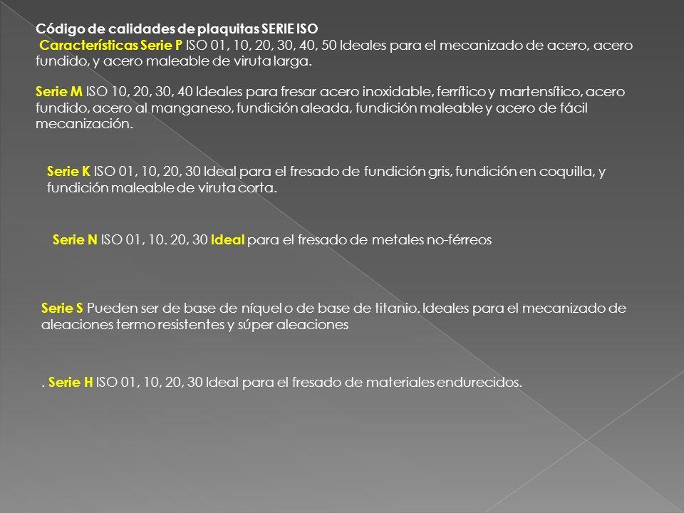 Código de calidades de plaquitas SERIE ISO Características Serie P ISO 01, 10, 20, 30, 40, 50 Ideales para el mecanizado de acero, acero fundido, y ac