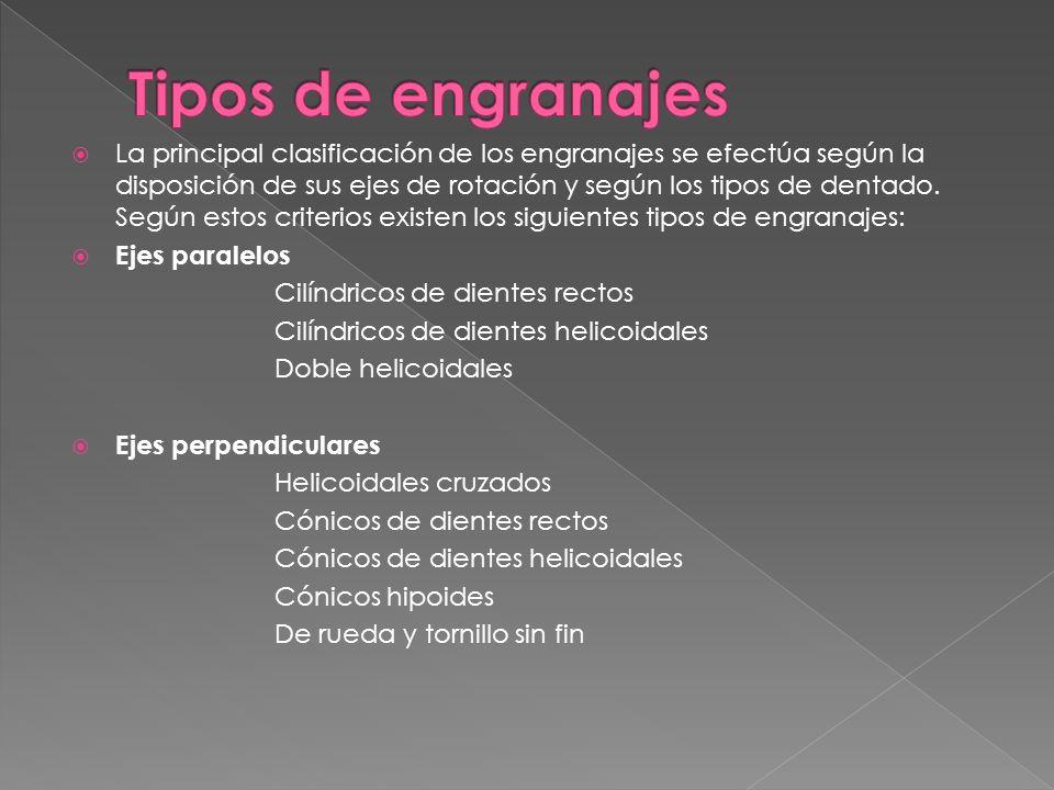 La principal clasificación de los engranajes se efectúa según la disposición de sus ejes de rotación y según los tipos de dentado. Según estos criteri