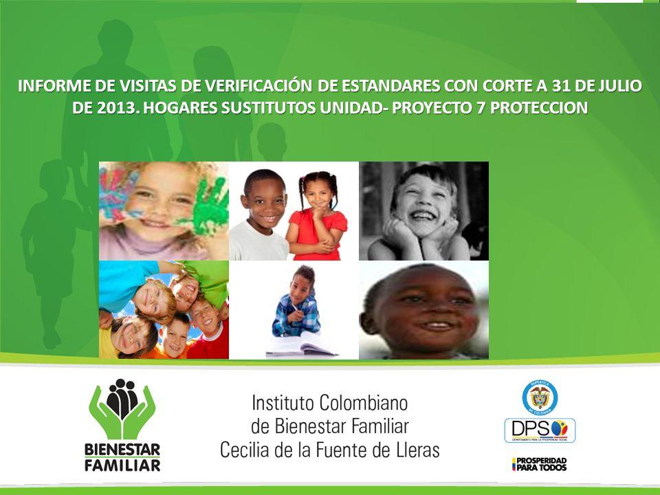 INFORME DE VISITAS DE VERIFICACIÓN DE ESTANDARES CON CORTE A 31 DE JULIO DE 2013. HOGARES SUSTITUTOS UNIDAD- PROYECTO 7 PROTECCION