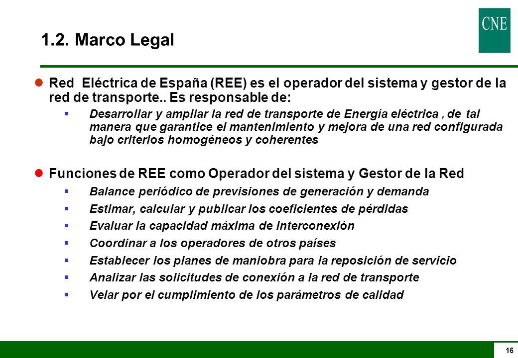 16 lRed Eléctrica de España (REE) es el operador del sistema y gestor de la red de transporte..
