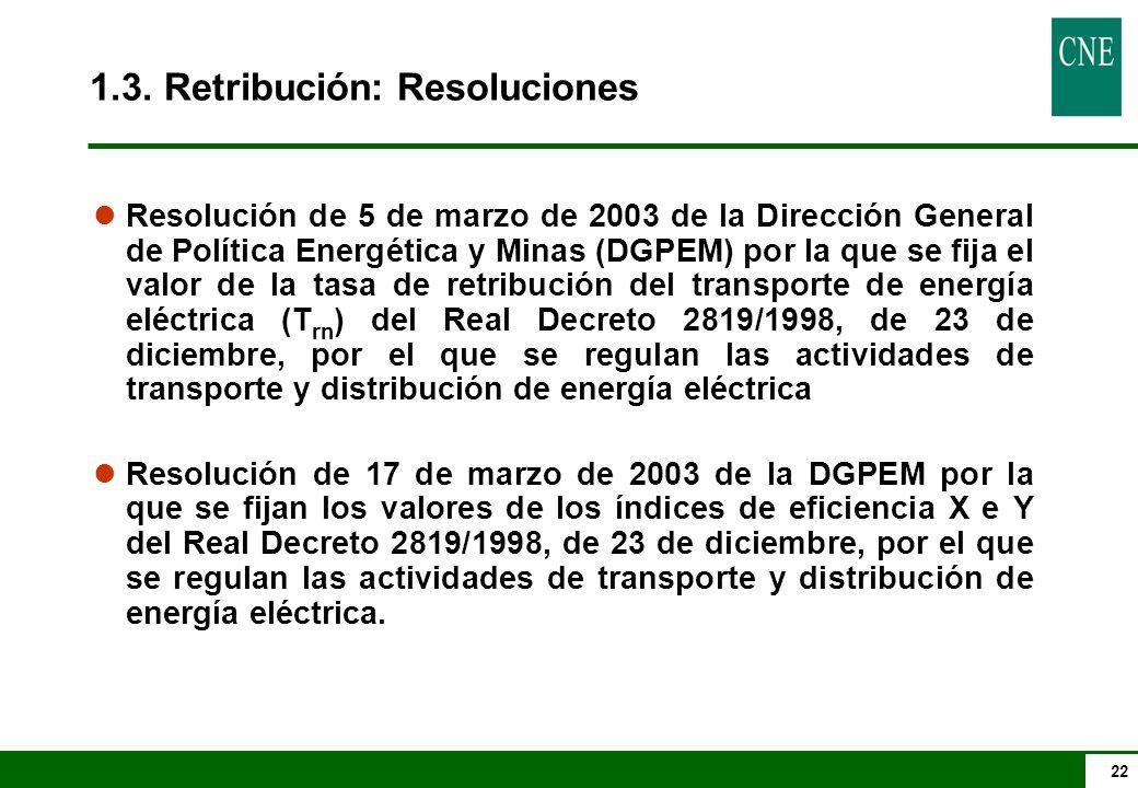 22 l Resolución de 5 de marzo de 2003 de la Dirección General de Política Energética y Minas (DGPEM) por la que se fija el valor de la tasa de retribución del transporte de energía eléctrica (T rn ) del Real Decreto 2819/1998, de 23 de diciembre, por el que se regulan las actividades de transporte y distribución de energía eléctrica l Resolución de 17 de marzo de 2003 de la DGPEM por la que se fijan los valores de los índices de eficiencia X e Y del Real Decreto 2819/1998, de 23 de diciembre, por el que se regulan las actividades de transporte y distribución de energía eléctrica.
