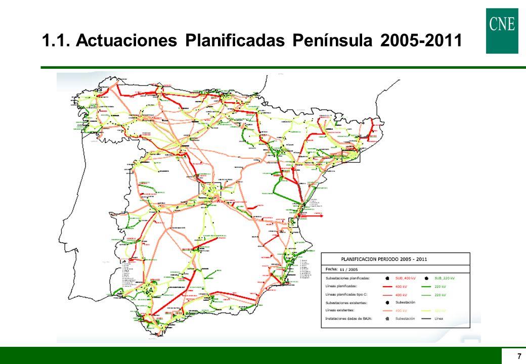 7 1.1. Actuaciones Planificadas Península 2005-2011