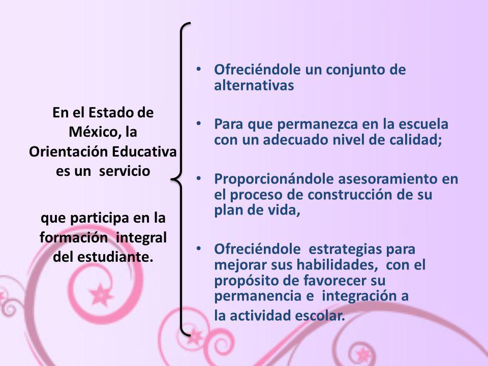 En el Estado de México, la Orientación Educativa es un servicio que participa en la formación integral del estudiante.