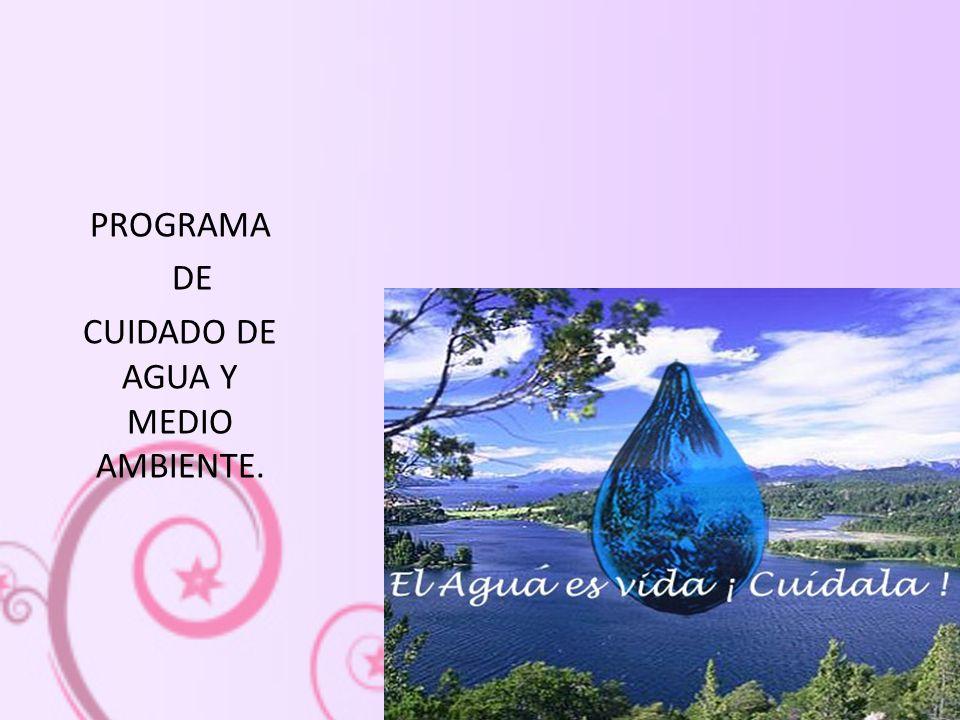 PROGRAMA DE CUIDADO DE AGUA Y MEDIO AMBIENTE.