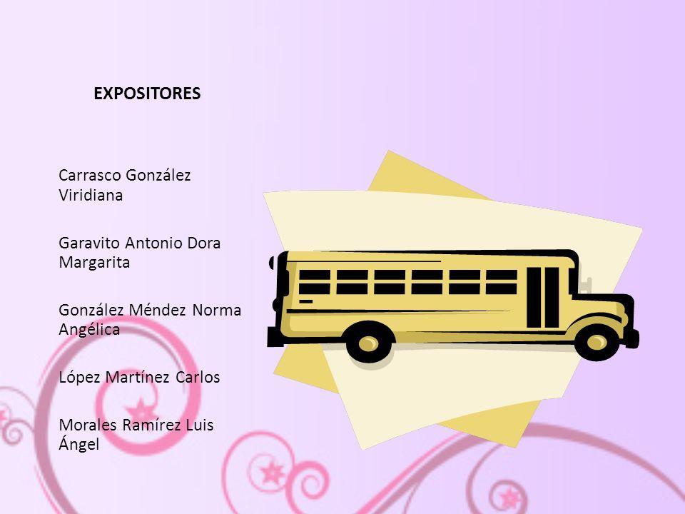 EXPOSITORES Carrasco González Viridiana Garavito Antonio Dora Margarita González Méndez Norma Angélica López Martínez Carlos Morales Ramírez Luis Ángel