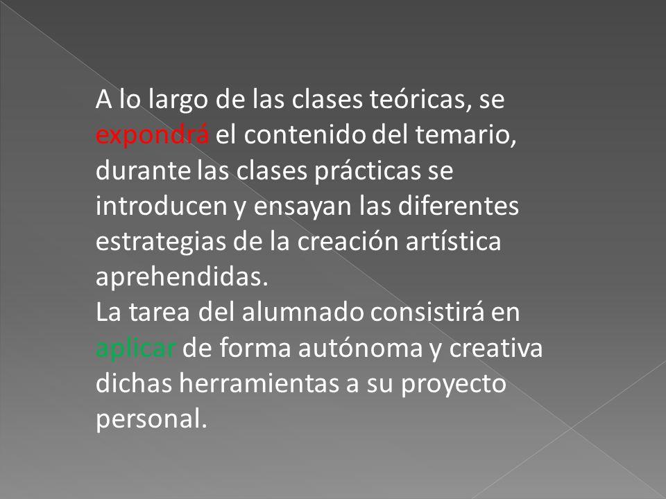 A lo largo de las clases teóricas, se expondrá el contenido del temario, durante las clases prácticas se introducen y ensayan las diferentes estrategias de la creación artística aprehendidas.