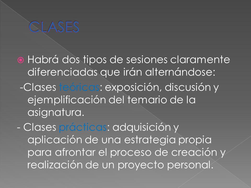 Habrá dos tipos de sesiones claramente diferenciadas que irán alternándose: -Clases teóricas: exposición, discusión y ejemplificación del temario de la asignatura.