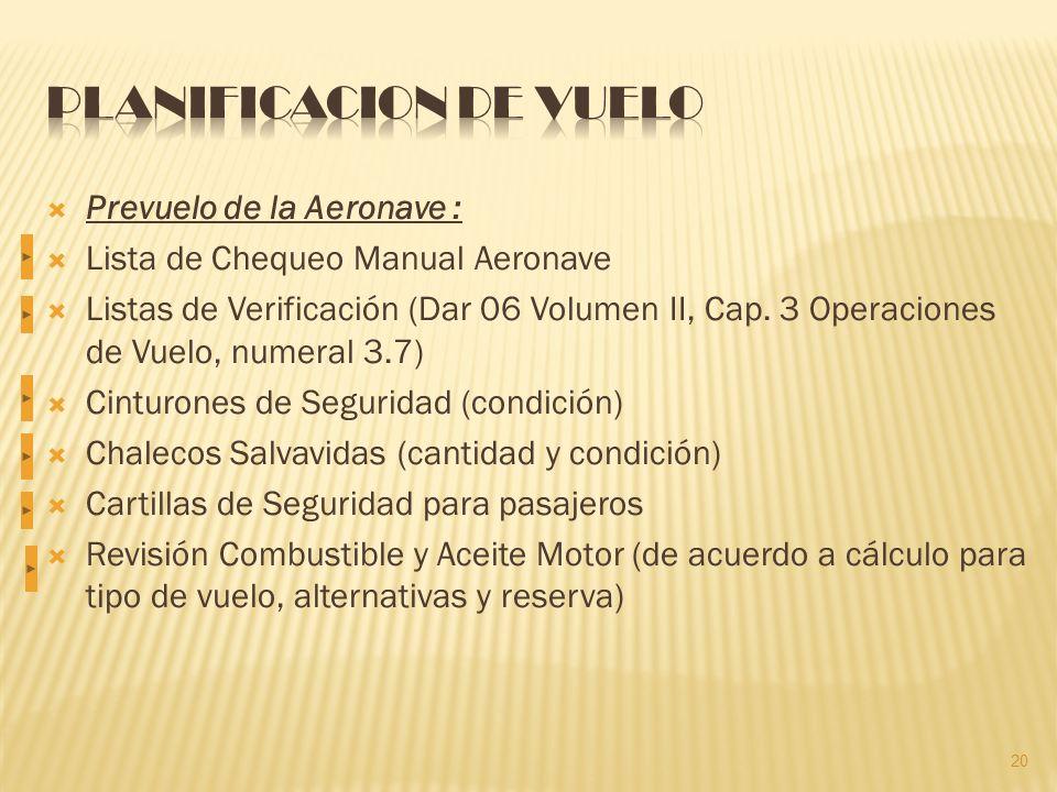 Prevuelo de la Aeronave : Lista de Chequeo Manual Aeronave Listas de Verificación (Dar 06 Volumen II, Cap.