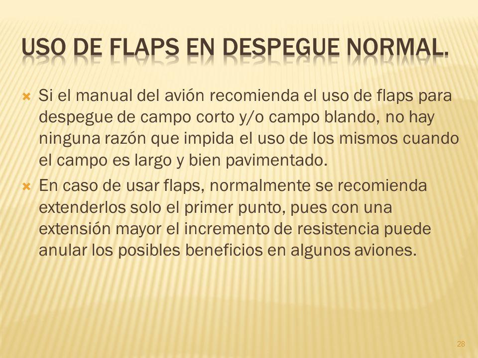 Si el manual del avión recomienda el uso de flaps para despegue de campo corto y/o campo blando, no hay ninguna razón que impida el uso de los mismos cuando el campo es largo y bien pavimentado.
