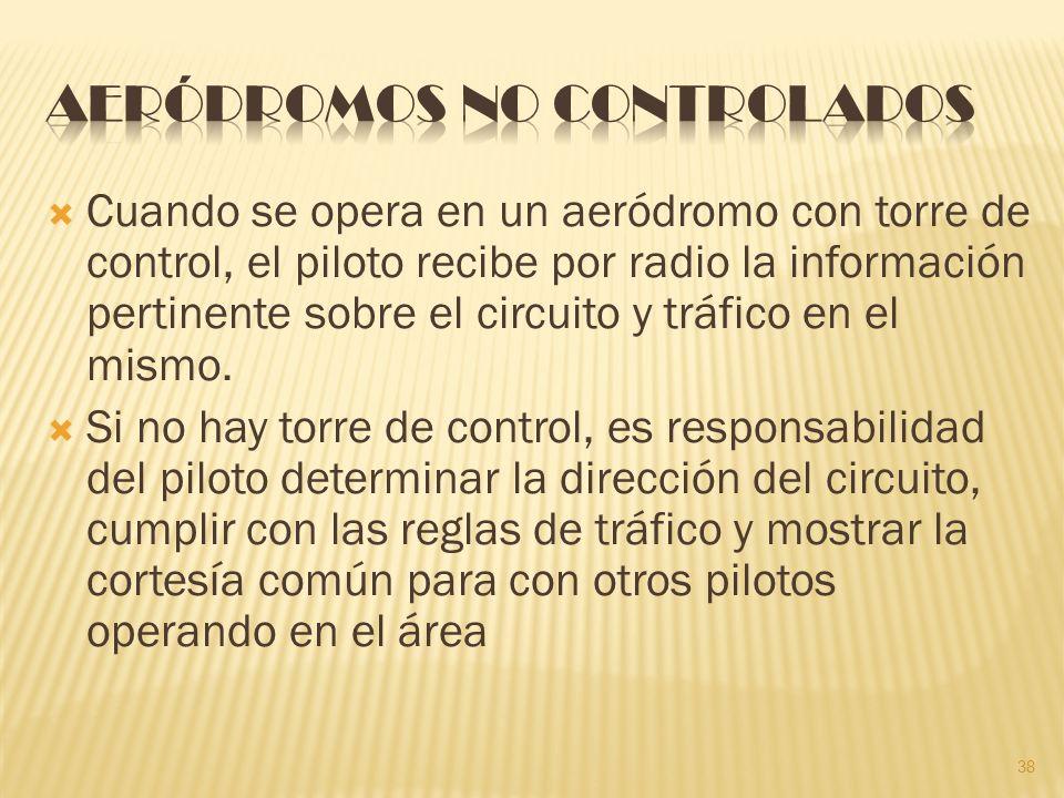 Cuando se opera en un aeródromo con torre de control, el piloto recibe por radio la información pertinente sobre el circuito y tráfico en el mismo.