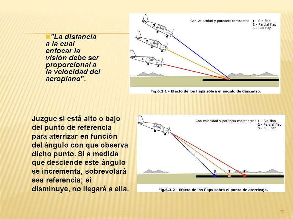 44 La distancia a la cual enfocar la visión debe ser proporcional a la velocidad del aeroplano .
