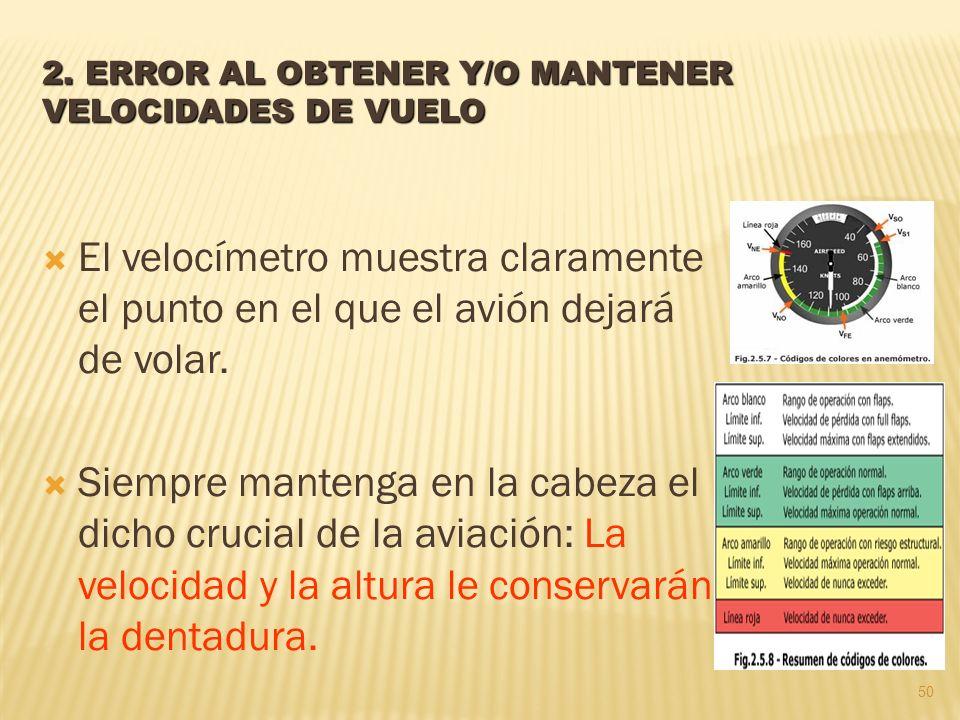 2. ERROR AL OBTENER Y/O MANTENER VELOCIDADES DE VUELO El velocímetro muestra claramente el punto en el que el avión dejará de volar. Siempre mantenga